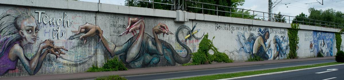 Projektwand von Herakut am Bahndamm in Bad Vilbel